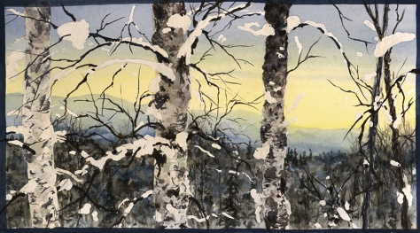 """Talkeetna Dawn"" Acrylic on watercolor paper"